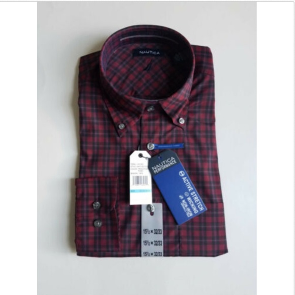 Nautica Other - Nautica Performance Stretch Plaid Dress Shirt Red